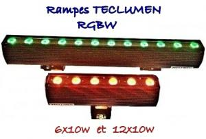 RAMPES/BARRES Led TECLUMEN LINEA COLOR 6x10w ou 12x10w RVBW IP65