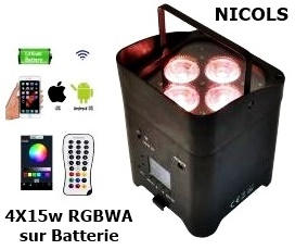 PROJECTEUR LED SUR BATTERIE 4x15w RGBWA-UV - 324€